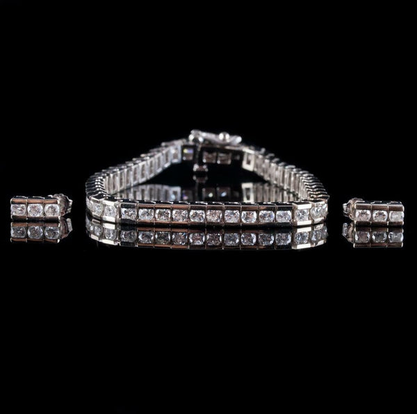 14k White Gold Round Cut Diamond Tennis Bracelet / Earring Set 4.48ctw