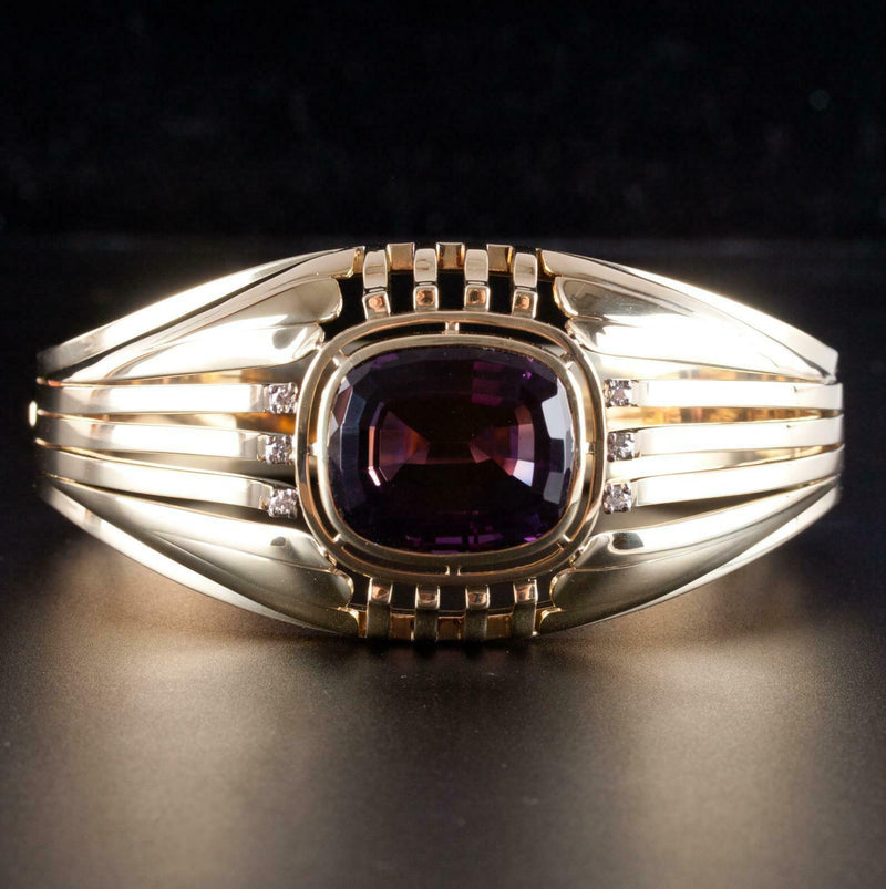 Vintage 1950s 14k Yellow Gold Amethyst & Diamond Hinged Bangle Bracelet 26.33ctw