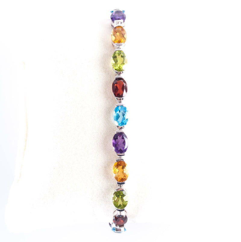 "14k White Gold Oval Cut Multi-Gemstone Tennis Bracelet 16.16ctw 7"" Length"