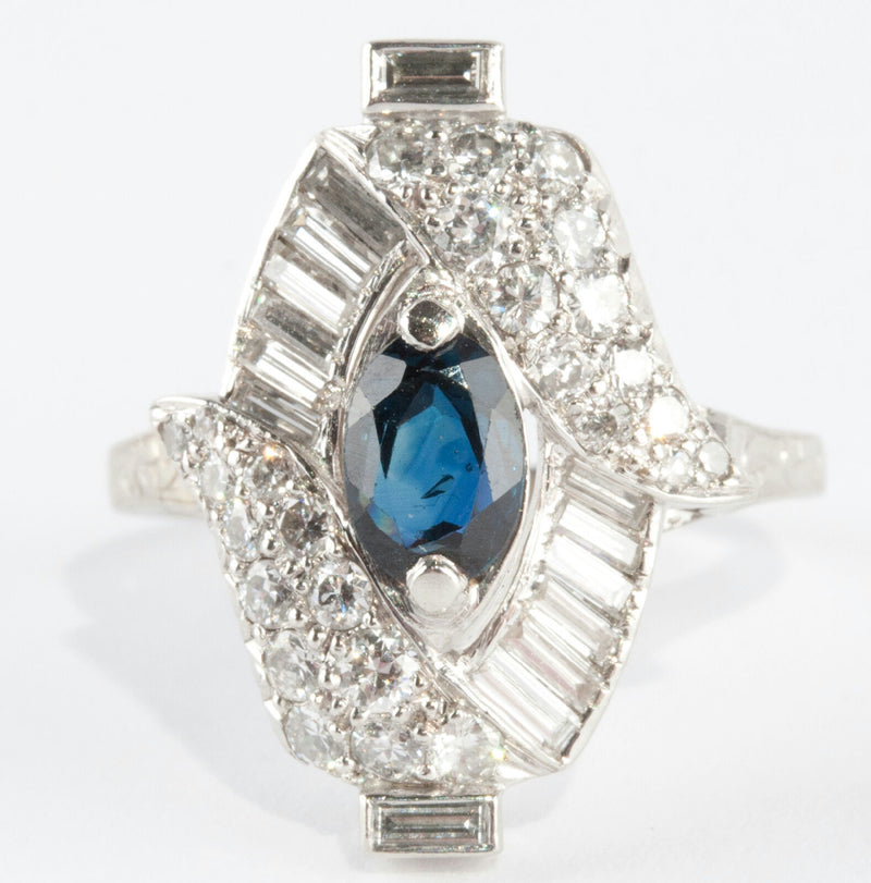 Stunning Vintage 1940's 18k White Gold Sapphire & Diamond Cocktail Ring 1.83ctw