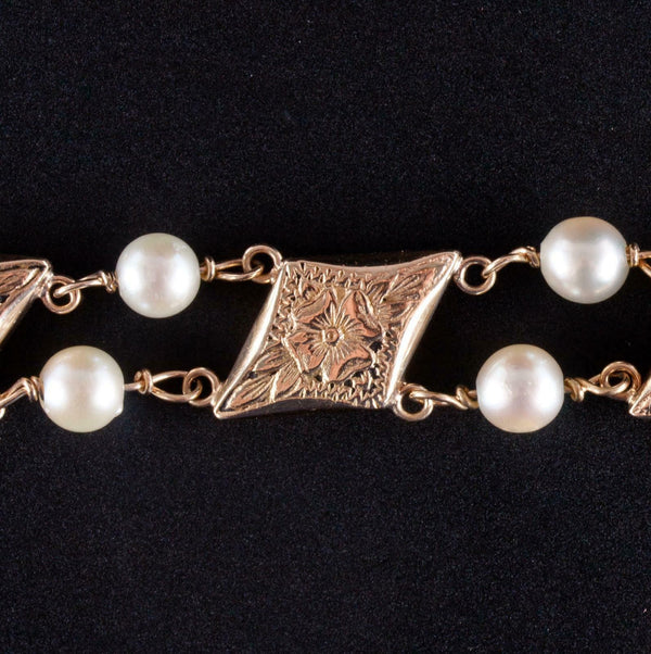 "Vintage 1960's 14k Yellow Gold Cultured Pearl Floral Bracelet 7.5"" Length"