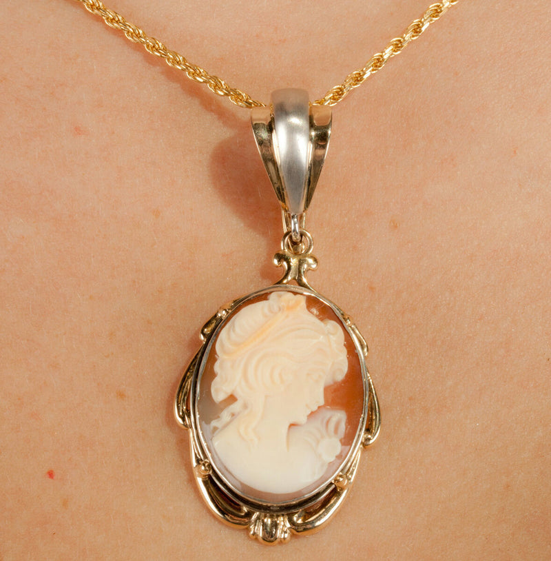 Ladies Stunning 14k Yellow & White Gold Conch Shell Cameo Pendant 9.3g