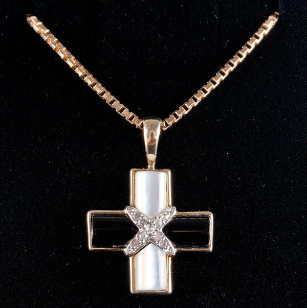 "10k Yellow Gold Mother of Pearl / Onyx / Diamond Cross Pendant W/ 21.5"" Chain"