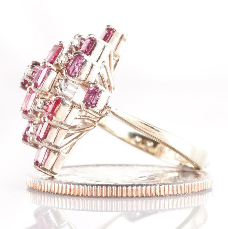 Vintage 1950's 14k Yellow & White Gold Ruby & Diamond Cocktail Ring 2.79ctw