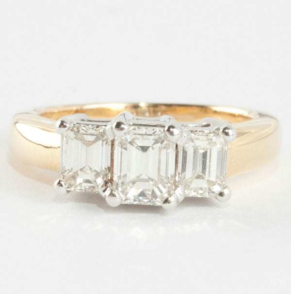 "Ladies 18k Yellow & White Gold ""G"" Diamond Three-Stone Engagement Ring 1.41ctw"
