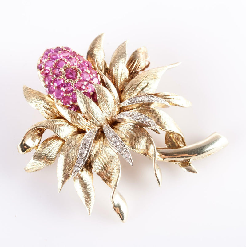 Vintage 1960's 14k Yellow Gold Round Cut Ruby & Diamond Flower Brooch 2.0ctw