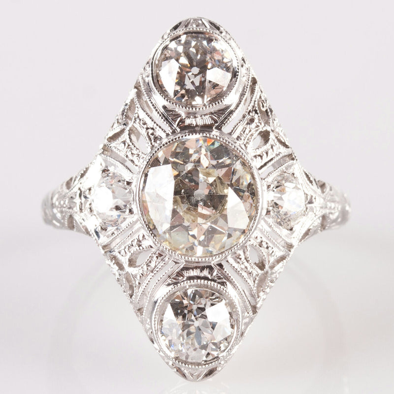 Vintage 1900's 18k White Gold Three-Stone Diamond Engagement Ring 2.83ctw