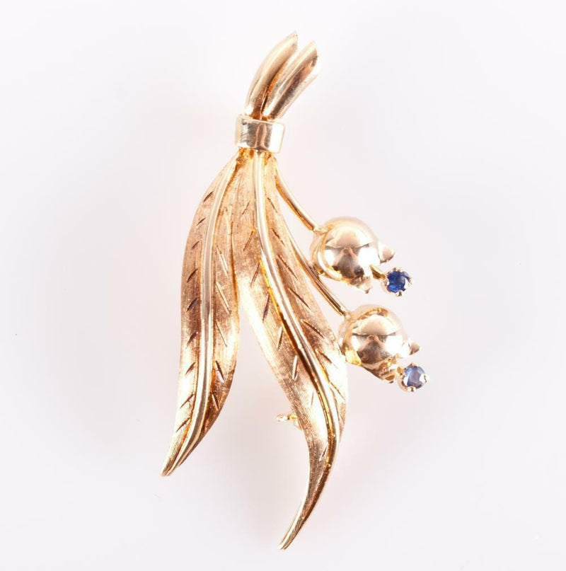 Tiffany & Co Vintage 1980s 18k Yellow Gold Round Cut Sapphire Leaf Brooch .08ctw