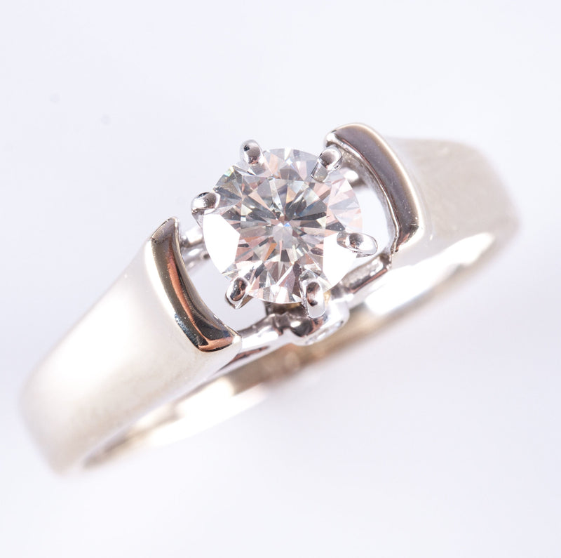 Fine 14K White Gold Round I SI1 Diamond Solitaire Engagement Ring 0.76ctw 5.7g