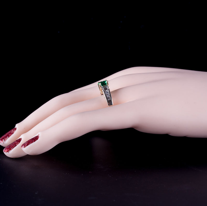 Unique 14k White & Yellow Gold Emerald & Diamond Engagement Ring 1.21ctw