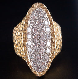18k Yellow & White Gold Round G VS2 Diamond Cocktail Ring .84ctw Size 3