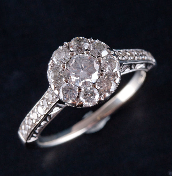 10k White Gold Round Diamond Vintage Style Halo Engagement Ring 1.21ctw