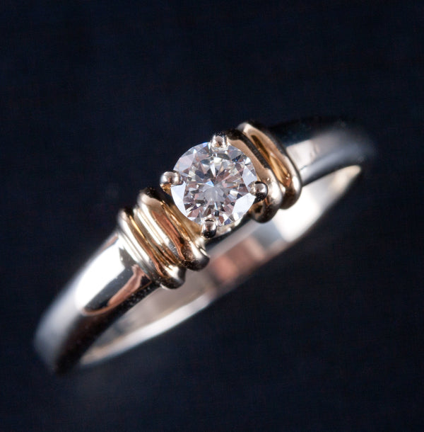 14k Yellow & White Gold Round Diamond Solitaire Engagement Ring .23ct 3.6g