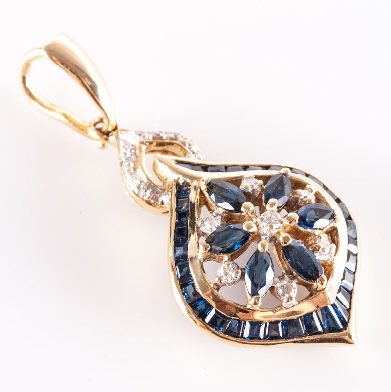 18k Yellow Gold Sapphire & Diamond Floral Cluster Style Pendant 2.035ctw 5.7g