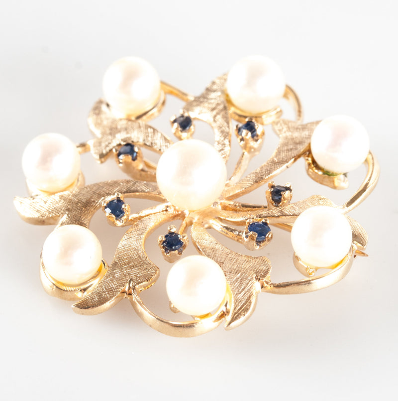 Vintage 1950's 14k Yellow Gold Cultured Pearl & Sapphire Brooch / Pin .28ctw