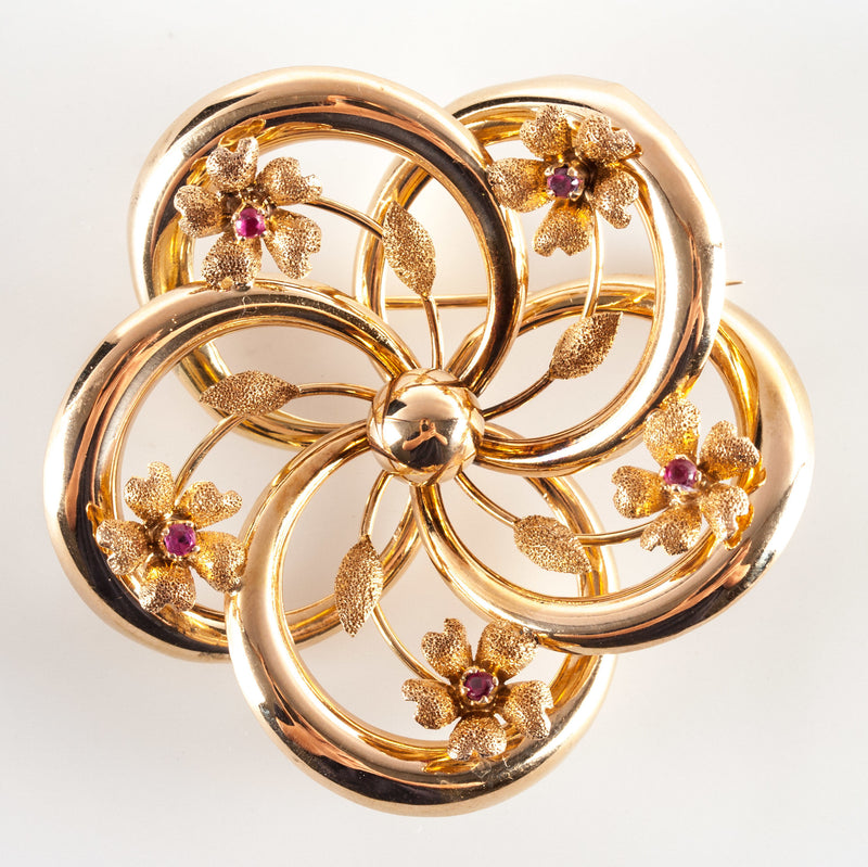 Vintage 1940's 18k Yellow Gold Round Ruby Floral Flower Brooch / Pin .20ctw