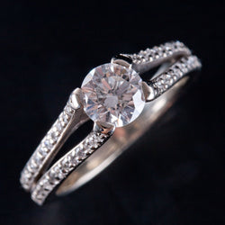 14k White Gold Round Diamond Solitaire Engagement Ring W/ Accents 1.07ctw