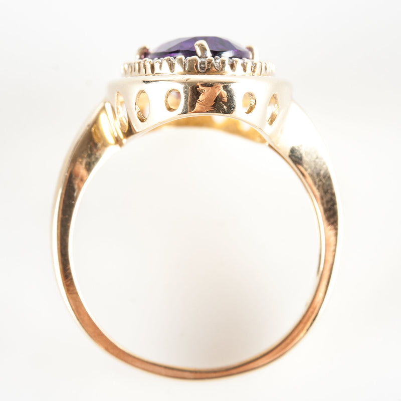 14k Yellow Gold Oval Amethyst & Diamond Halo Style Cocktail Ring 9.92ctw