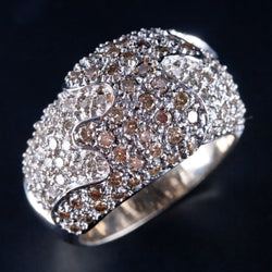 14k White Gold Round Brown Diamond & Diamond Cocktail Ring 2.09ctw 9.9g Size 7.5