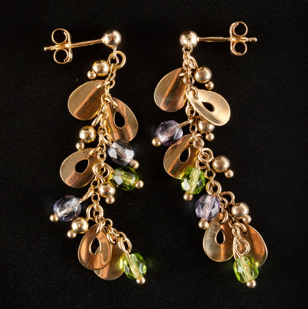 14k Yellow Gold Faceted Bead Peridot & Quartz Dangle Earrings 3.16ctw 4.8g
