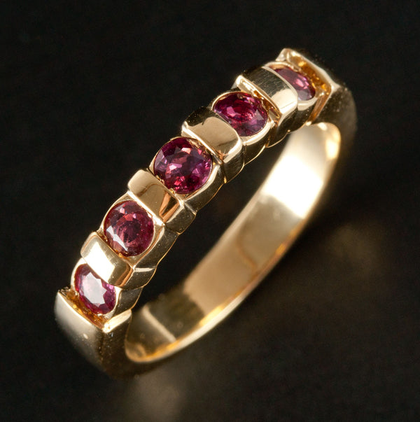 18k Yellow Gold Round Ruby Bar Set Band / Ring .60ctw 5.8g Size 6.75