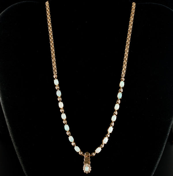 "14k Yellow Gold Oval Opal & Diamond Tennis Style Necklace 5.185ctw 16.5"" Length"