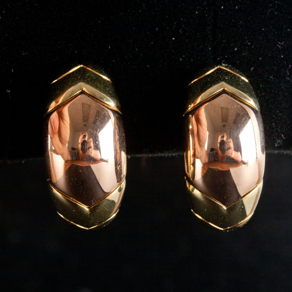 18k Yellow & Rose Gold Bulgari Huggie Omega Back Earrings 17.2g