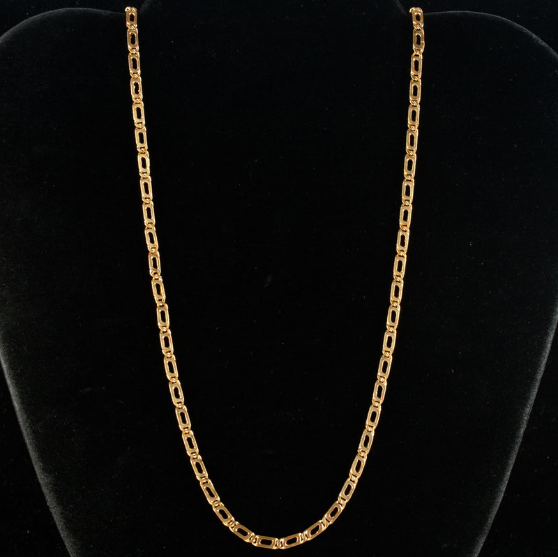 "22k Yellow Gold Traditional Heavy Link Style Chain Necklace 26"" Length 30.0g"