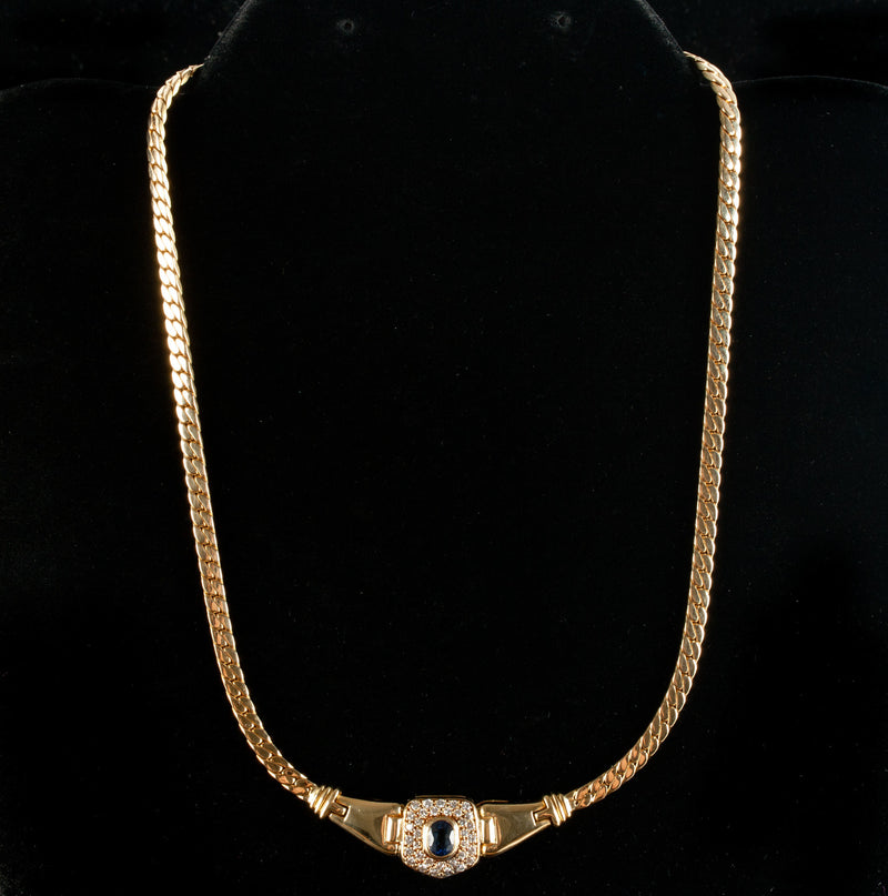 "18k Yellow Gold Oval Sapphire & Diamond Necklace 1.48ctw 29.7g 15"" Length"