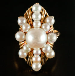 Vintage 1960's 18k Yellow Gold Round Cultured Pearl Cocktail Ring 6.2g Size 5.25