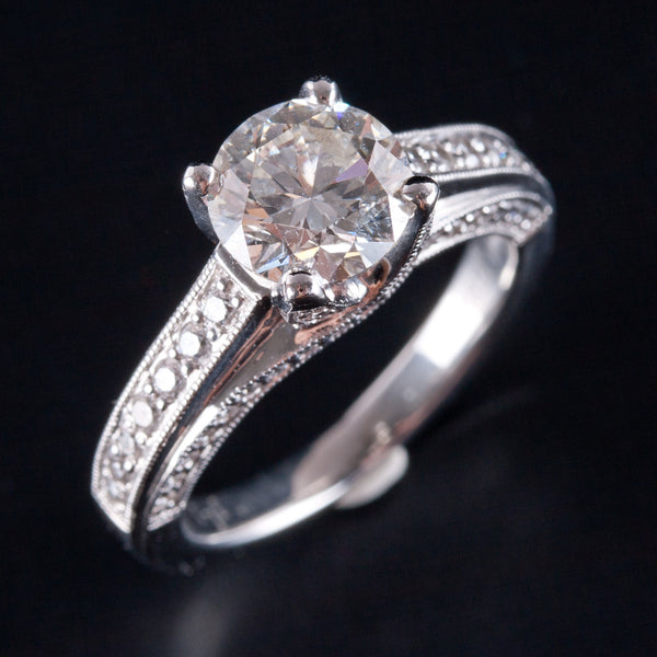 Platinum Round GIA Certified Diamond Solitaire Engagement Ring W/ Accent 2.05ctw