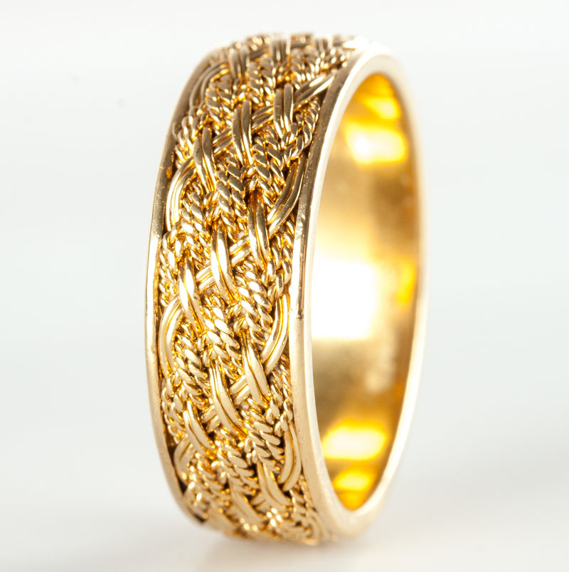 18k Yellow Gold Woven Wide Style Band / Ring 5.2g Size 6.5