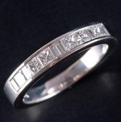 14k White Gold Princess & Baguette Diamond Wedding / Anniversary Band .984ctw