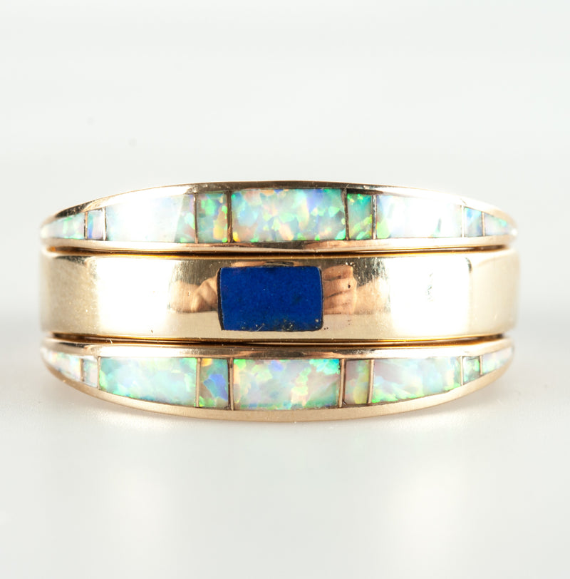 14k Yellow Gold Lab Opal & Natural Lapis Flip Style Ring 7.6g Size 6