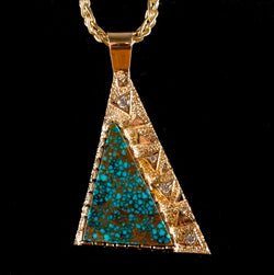 "14k Yellow Gold Landers Blue Turquoise & Diamond Pendant W/ 30"" Chain .22ctw"