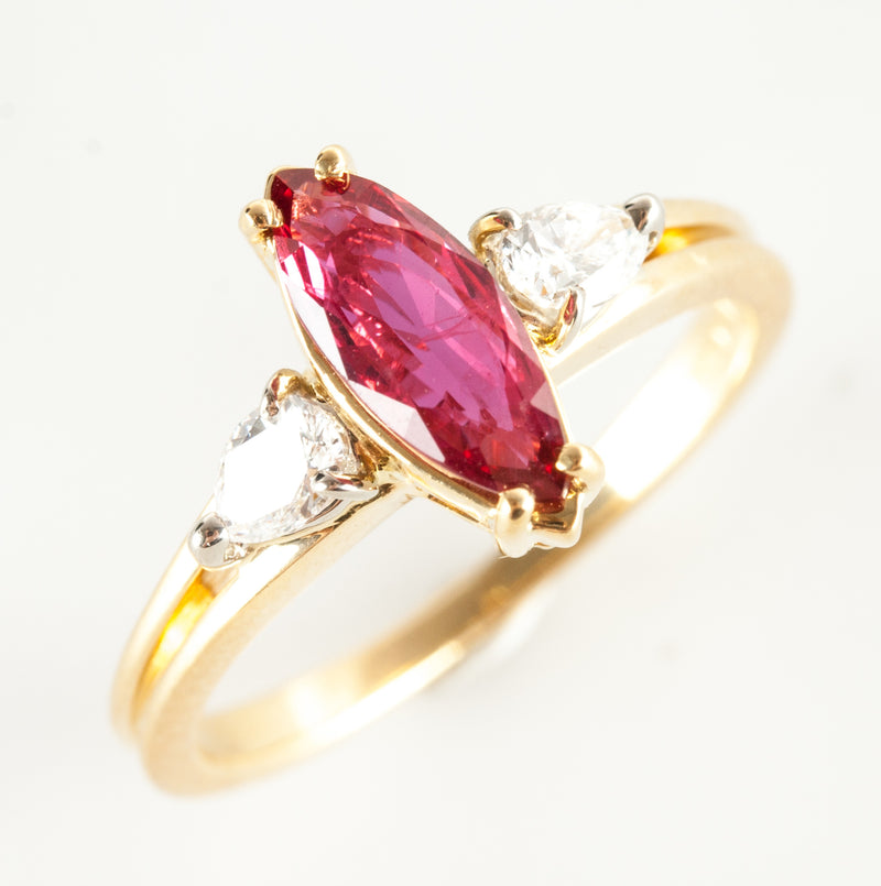 18k Yellow Gold Marquise Ruby & Diamond Three Stone Style Ring 1.18ctw 3.8g