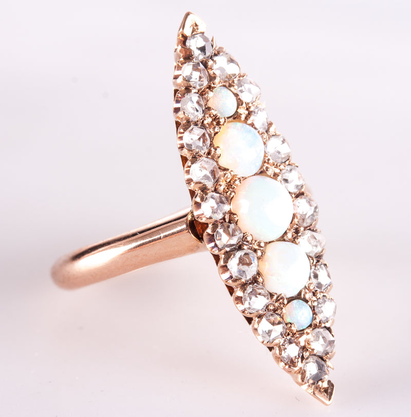 Vintage 1880s 14k Rose Gold Round Cabochon Opal & Diamond Cocktail Ring 1.016ctw