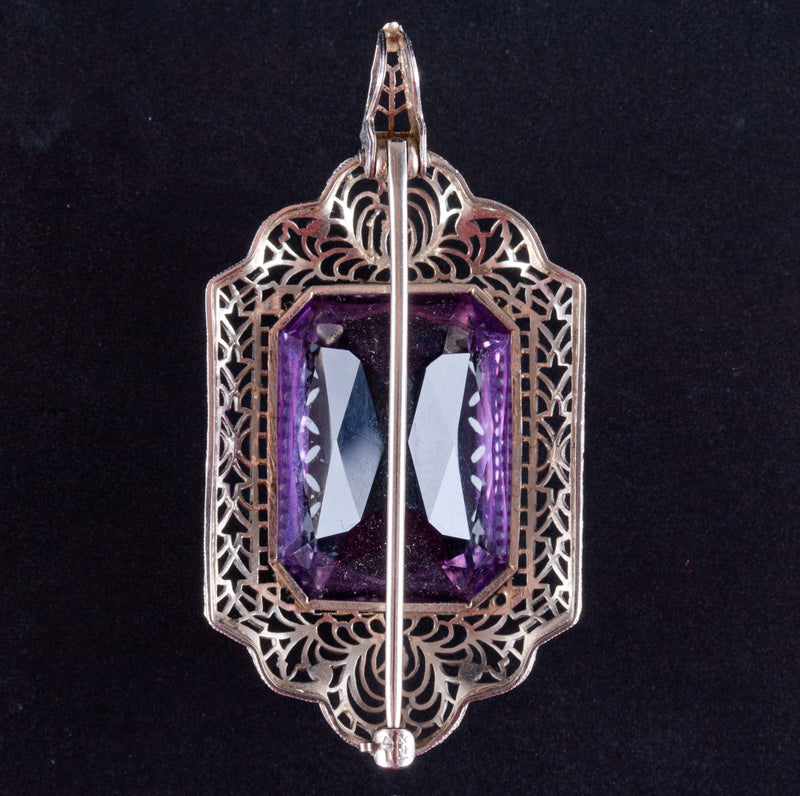 Vintage 1920's 14k White Gold Amethyst Solitaire Brooch Pendant Combo 17.25ct