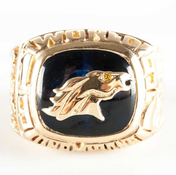 14k Yellow Gold Cushion Lab Sapphire & Diamond Broncos Football Ring 10.41ctw