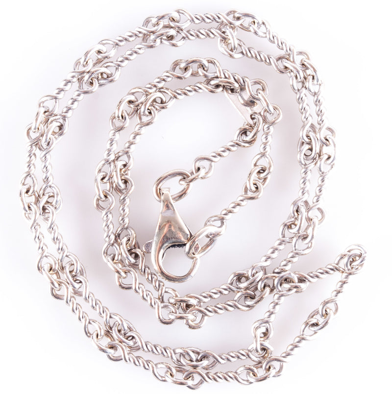 "14k White Gold Twisted Wire Style Decorative Chain Necklace 9.8g 18.5"" Length"