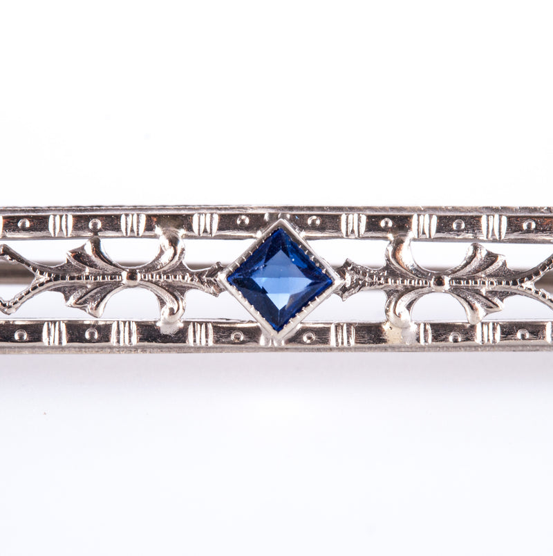 Vintage 1920's 10k White Gold Lab Sapphire Solitaire Brooch .17ctw 2.8g