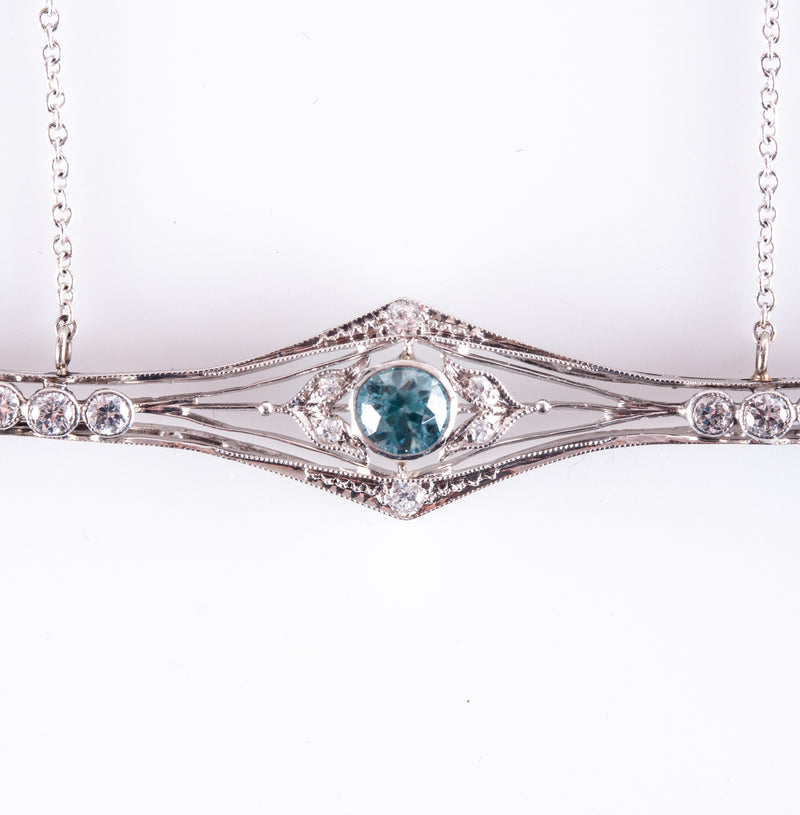 "Vintage 1920's 14k White Gold Aquamarine & Diamond Necklace 1.14ctw 19.5"" Chain"