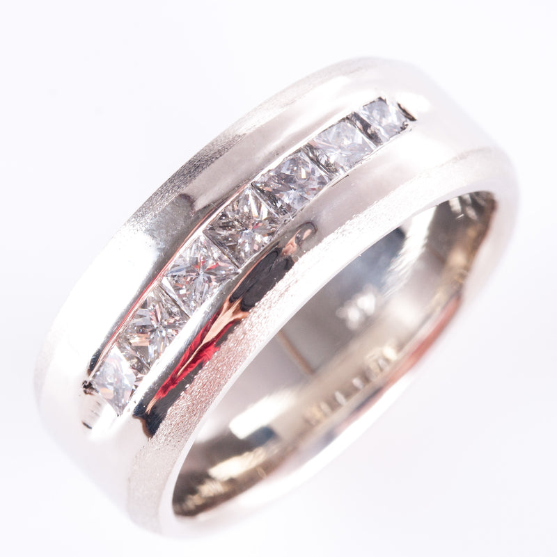 14k White Gold Princess Diamond Channel Set Wedding Anniversary Band 1.19ctw