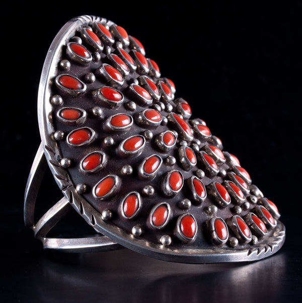 Vintage 1960's Sterling Silver Zuni Native American Coral Cuff Bracelet 88.5ctw