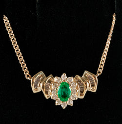 "14k Yellow Gold Oval Emerald & Diamond Necklace W/ 17"" Chain .924ctw"