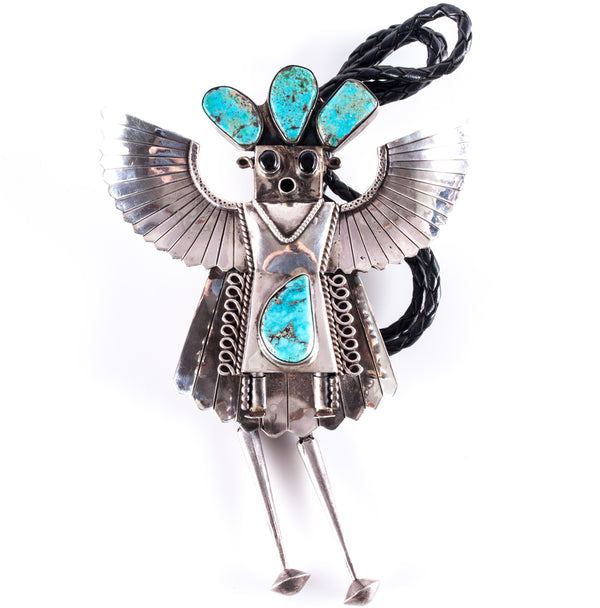 Vintage 1970's Sterling Silver Turquoise & Onyx Navajo Eagle Dancer Bolo Tie