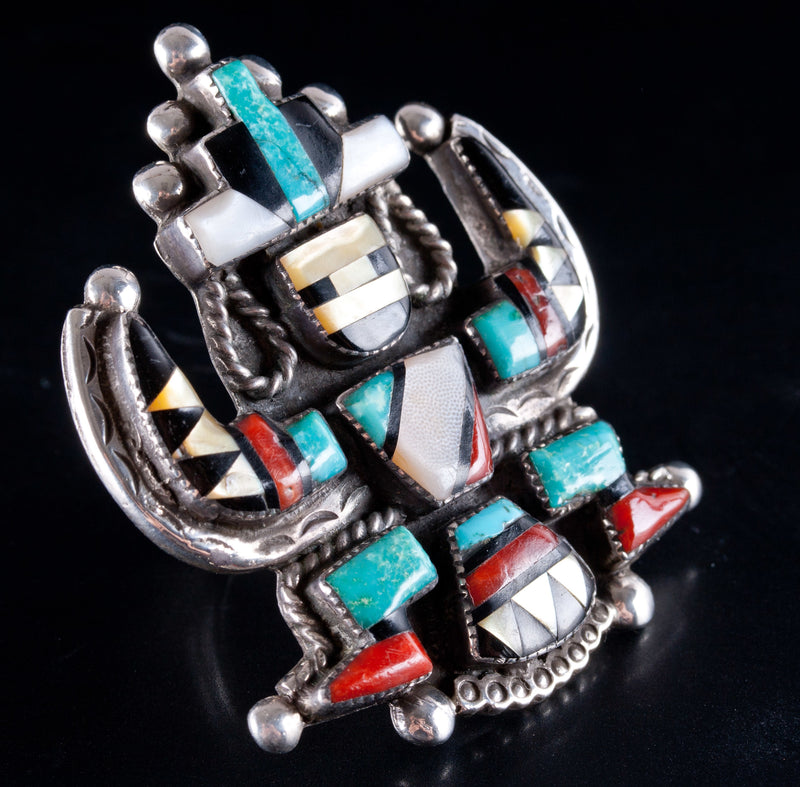 Vintage 1960's Zuni Native American Eagle Dancer Kachina Multi-Stone Ring 24g