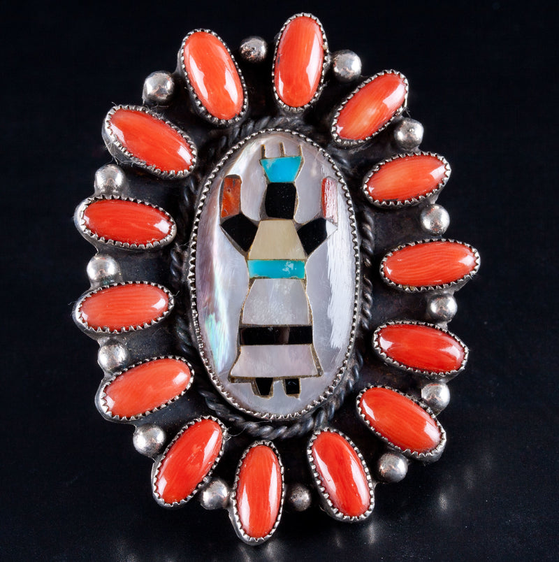 Vintage 1960's Navajo / Zuni Native American Corn Maiden Multi-Stone Ring 24g