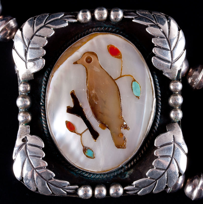 Vintage 1970's Sterling Silver Navajo Native American Squash Blossom Ring Set