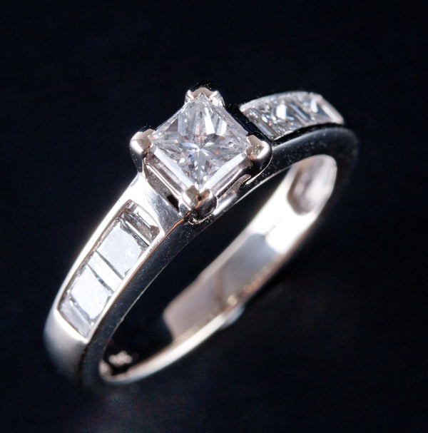 14k White Gold Princess Diamond Solitaire Engagement Ring W/ Accents 1.02ctw